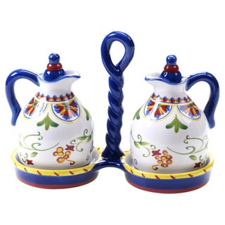 Hand-painted Amalfi 3-piece Ceramic Oil and Vinegar Set