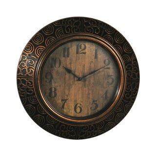 Elements 16-inch Bronze Embossed Wall Clock