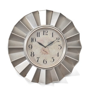 Elements 20-inch Silver Fan Wall Clock