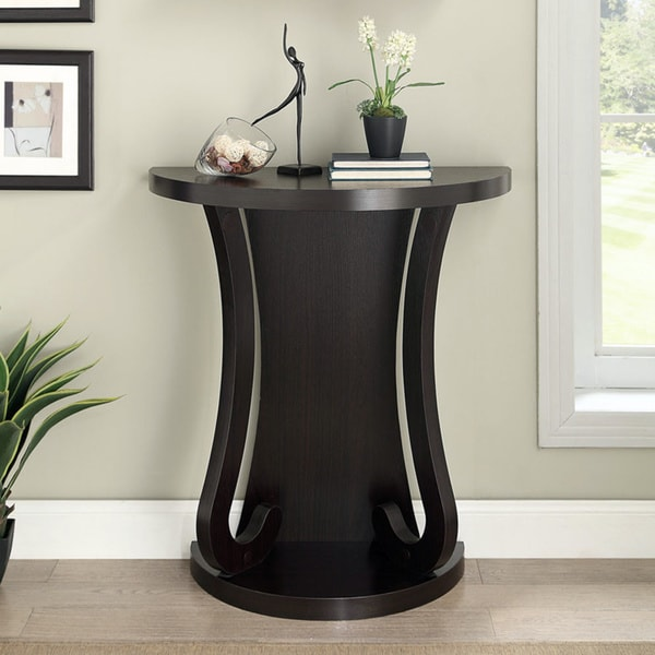 Cappuccino finish half moon entry table coffee console living modern room style ebay - Half table entryway ...