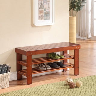 Light Brown Finish Solid Wood Storage Bench