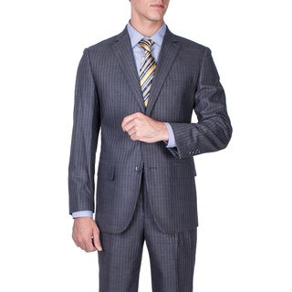 Men's Modern Fit Grey Striped Wool 2-button Suit