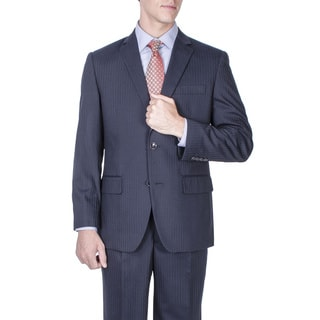 Men's Modern Fit Navy Blue Tonal Stripe Wool 2-button Suit