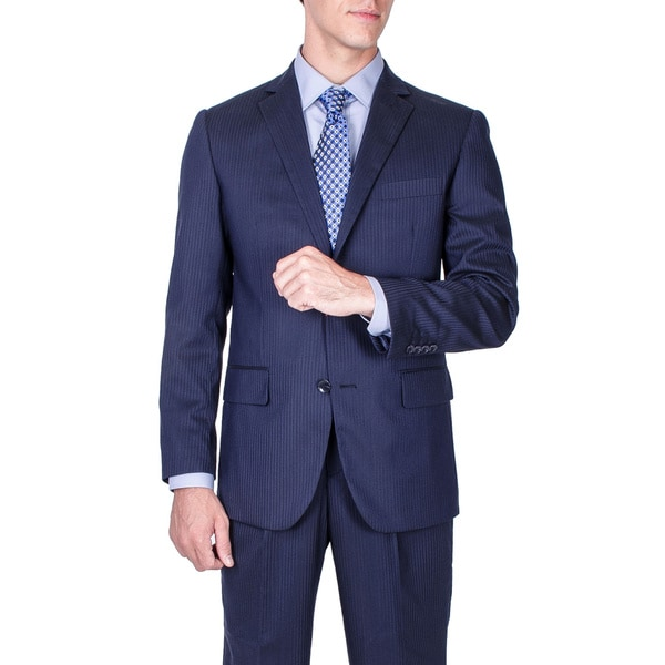 Men's Modern Fit Navy Blue Tonal Striped Wool Suit