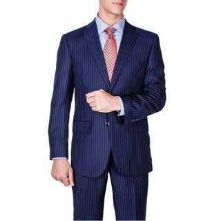 Men's Modern Fit Navy Blue Striped 2-button Suit