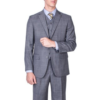 Men's Modern Fit Grey Windowpane Vested Wool Suit