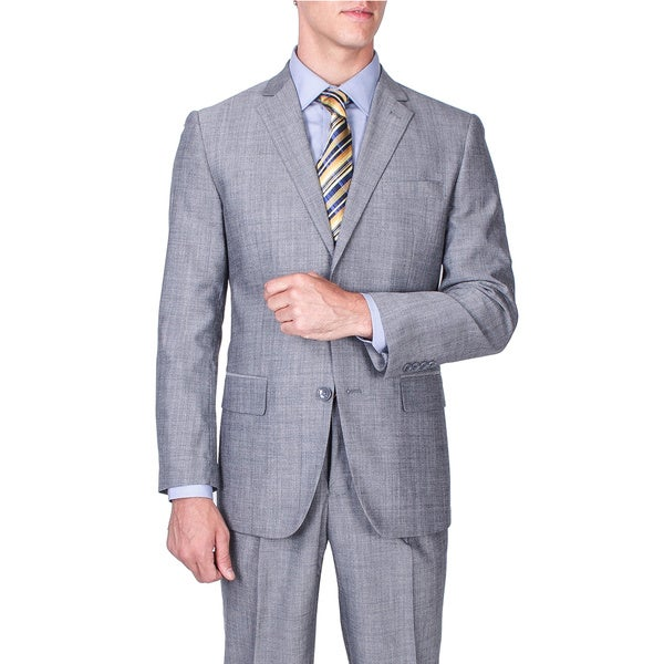 Men's Modern Fit Grey 2-button Wool Suit