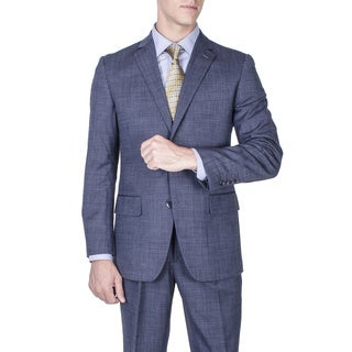 Men's Modern Fit Blue 2-button Wool Suit
