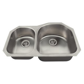 Polaris Sinks PR1301US Offset Double Bowl Stainless Steel Kitchen Sink