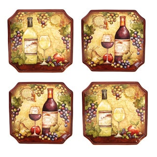 Hand-painted Wine Map 10.5-inch Assorted Ceramic Dinner Plates (Set of 4)