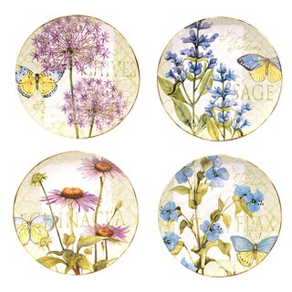 Hand-painted Herb Garden 11-inch Assorted Ceramic Dinner Plates (Set of 4)