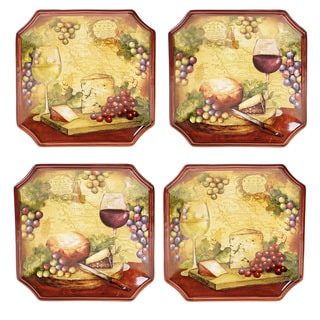 Hand-painted Wine Map 8.75-inch Assorted Ceramic Salad/Dessert Plates (Set of 4)