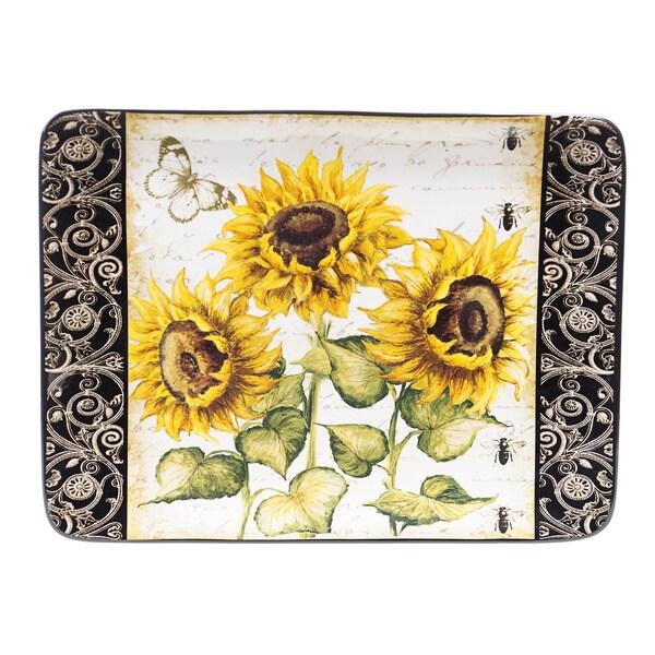 French Sunflowers Rectangular Serving Platter