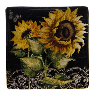 French Sunflowers 12.5-inch Square Platter