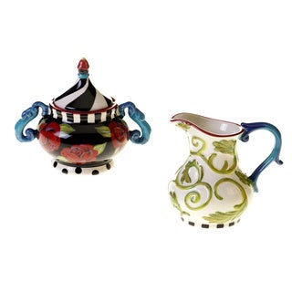 Hand-painted Classic Rose 2-piece Ceramic Sugar and Creamer Set