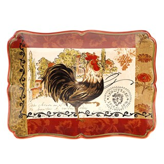 Hand-painted Tuscan Rooster 16-inch Rectangular Ceramic Serving Platter