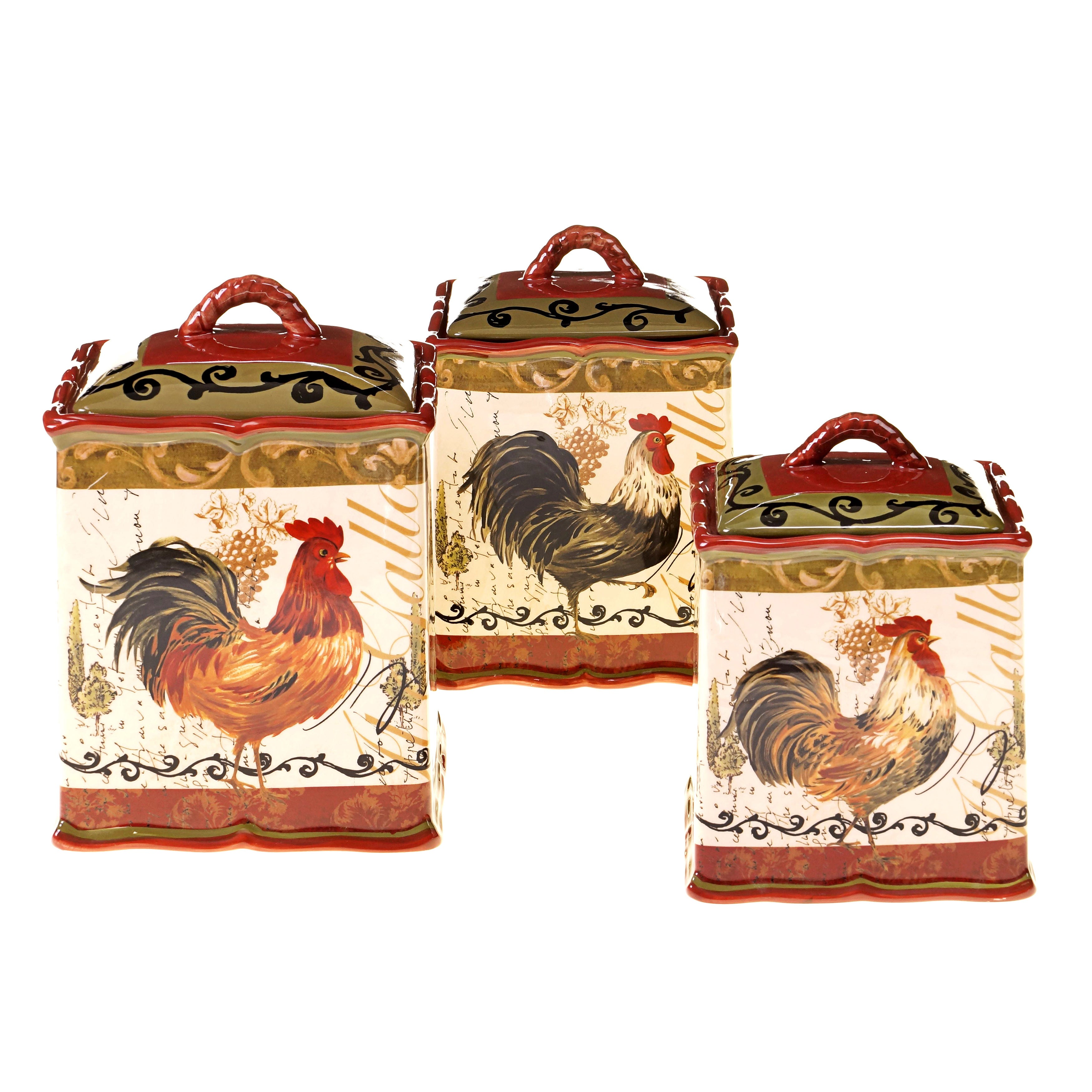 hand painted tuscan rooster 3 piece canister set