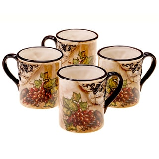 Hand-painted Tuscan View 16-ounce Mugs (Set of 4)