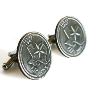 Handmade Silvertone Men's Texas State Quarter Cuff Links