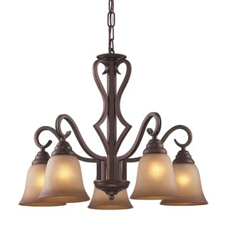 Lawrenceville 5-light Mocha/ Antique Amber Glass Chandelier