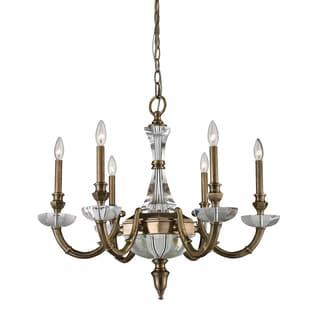 Arundel 6-light Aged Brass/ Crystal Chandelier