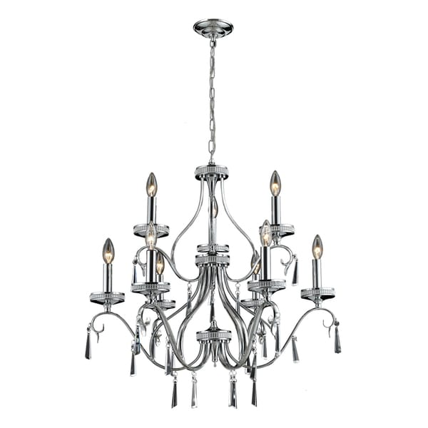 Sherbourne 9-light Chrome/ Crystal Chandelier