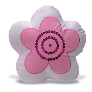 Flower Shaped Applique Sequins Decorative Pillow