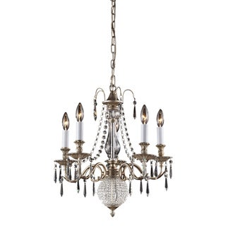 Hereford 5-light Crystal Aged Silver Chandelier