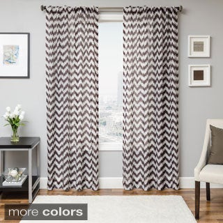 Fleur Chevron Back Tab Sheer Curtain Panel