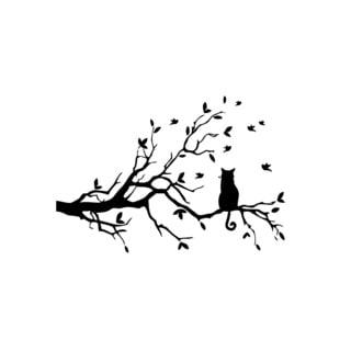 Cat Sitting on Tree Branch Vinyl Wall Art