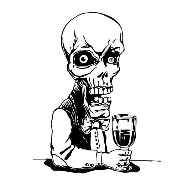 Drinking Skeleton Vinyl Wall Art 13006477