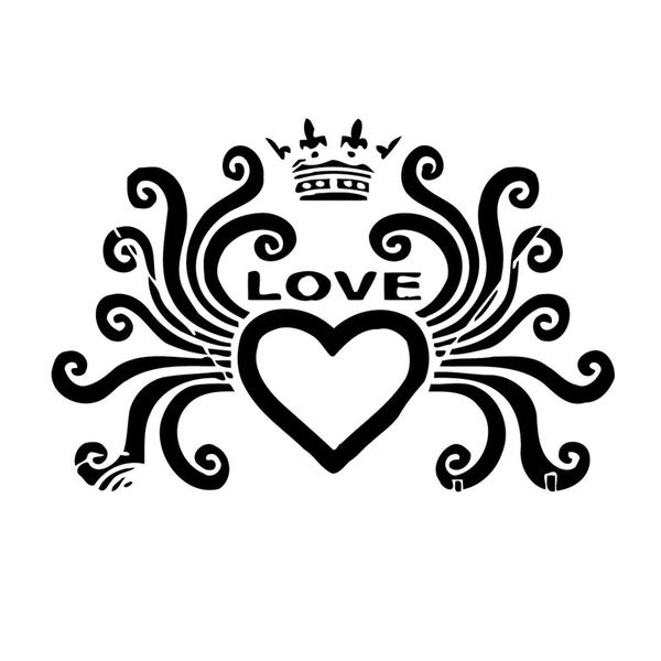 Heart Love Crown Vinyl Wall Art