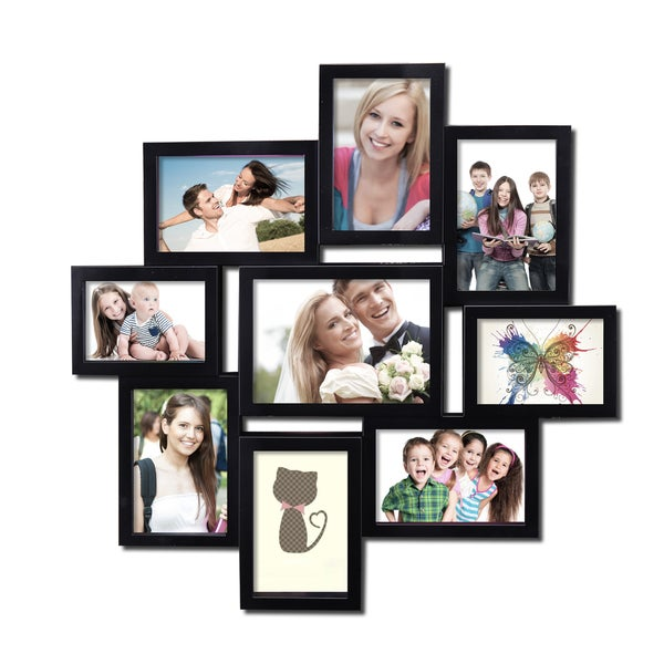 9 opening 4x6 and 5x7 black plastic wall hanging collage picture photo frame 16260876. Black Bedroom Furniture Sets. Home Design Ideas