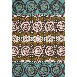 Safavieh Hand-loomed Cedar Brook Turquoise/ Burgundy Cotton Rug (4' x 6')