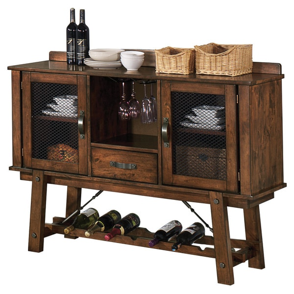 Lawson Rustic Oak Server with Built-in Wine Rack