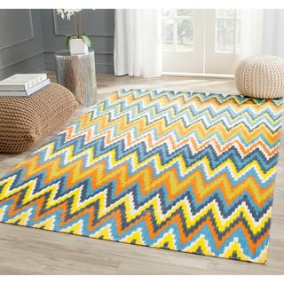 Safavieh Hand-loomed Cedar Brook Blue/ Orange Cotton Rug (7'3 x 9'3)