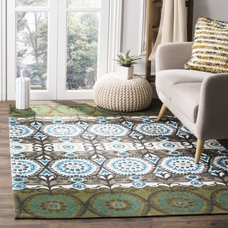 Safavieh Hand-loomed Cedar Brook Green/ Teal Cotton Rug (7'3 x 9'3)