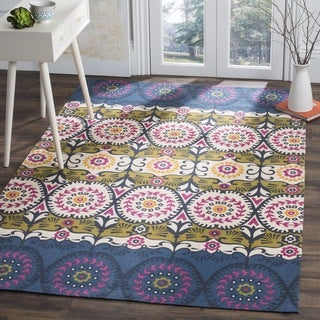 Safavieh Hand-loomed Cedar Brook Blue/ Pink Cotton Rug (7'3 x 9'3)