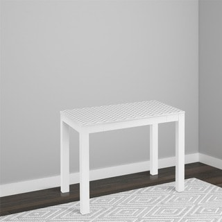 Parsons White Wooden Desk with Chevron Top