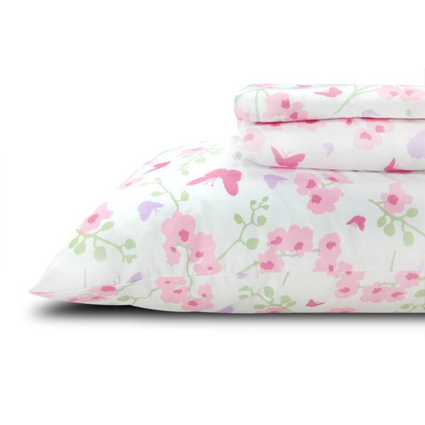 Printed Butterflies Flowers Kids/ Teens Twin Sheet Set