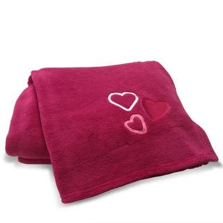 Pink Hearts Applique Embroidered Microplush Throw