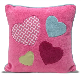 Hearts Applique Embroidered Square Microplush Decorative Pillow