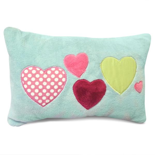 Heart Blue Applique Embroidered Decorative Lumbar Pillow