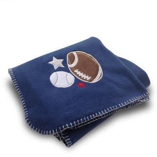 Football/ Baseball Blue Applique Embroidered Fleece Throw Blanket