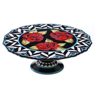 Classic Rose 12-inch Ceramic Cake Stand