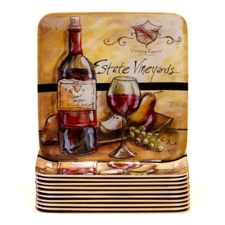 Certified International Estate Wine 6-inch Melamine Canape Plates (Set of 12)