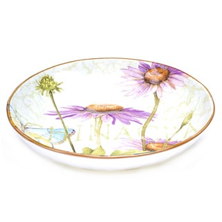 Hand-painted Herb Garden 13-inch Ceramic Pasta Serving Bowl
