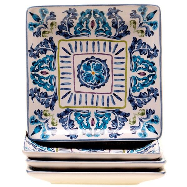 Hand-painted Mood Indigo Ceramic Canape Plates (Set of 4)