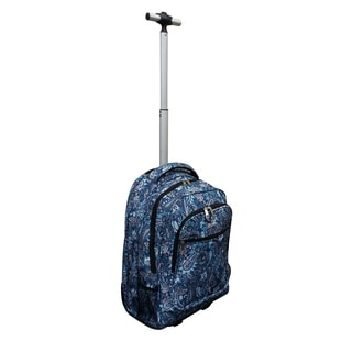 Jourdan Blue Paisley Rolling 17-inch Lightweight Laptop Backpack