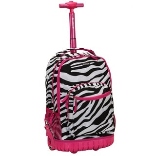 Rockland Pink Zebra 18-inch Rolling Laptop Backpack